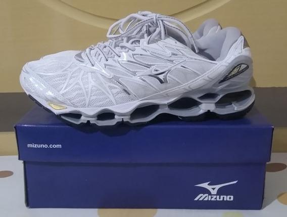 Tenis Mizuno Prophecy 7 Branco E Prata N41 Original Na Caixa