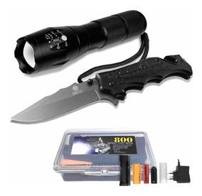 Lanterna Tática Militar 800+ Canivete Tático Luatek 484