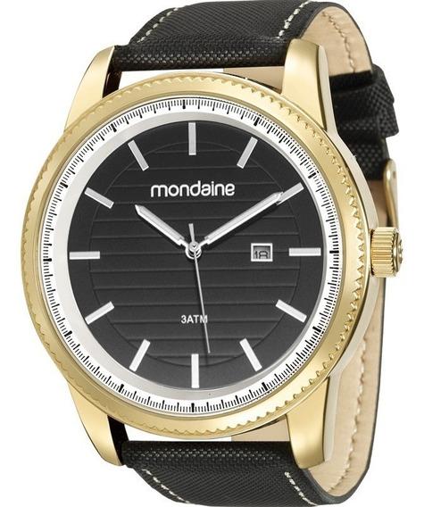 Relógio Mondaine Masculino Dourado E Preto Nfe 83359gpmvdh2