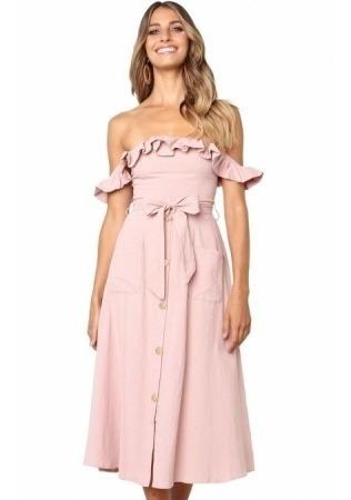 Vestido Midi Rosa Botones Strapless