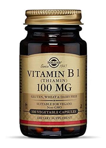 Solgar - Vitamina B1 (tiamina) 100 Mg, 100 Cápsulas Vegetale