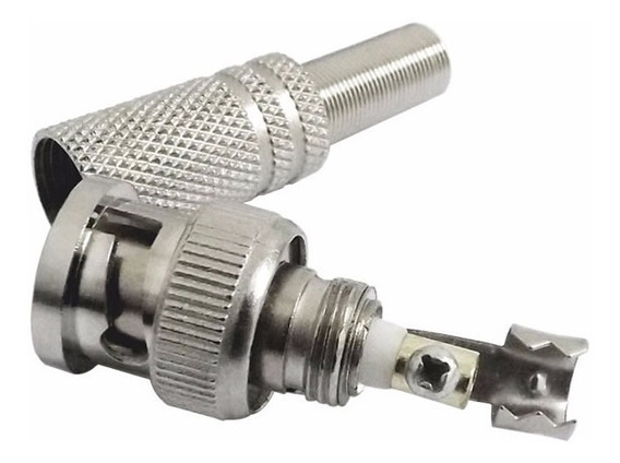 Kit 04 Conectores Bnc Com Mola Para Cameras Segurança Ahd Tvi Cvi Analogica Cftv Imagem Limpa Com Qualidade