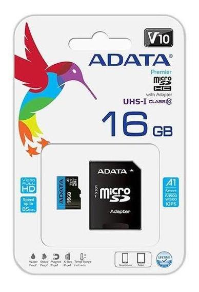 Cartão Micro Sd 16gb Classe 10 Adata Ausdh16guicl10a1-ra1