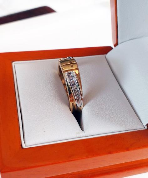 Anillo Oro De 14k Con Cruz Y 10 Diamantes Naturales 20 Puntos