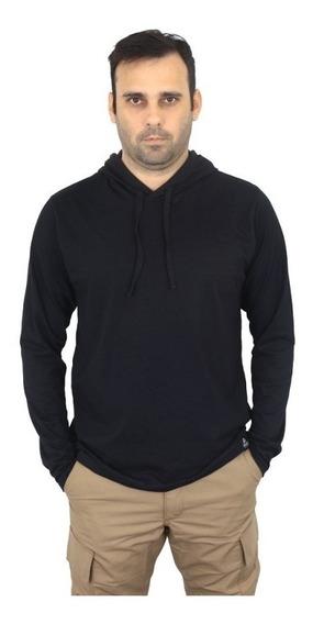 Camiseta Manga Longa Com Capuz Sem Estampa