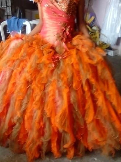 Vestido Quince Años Naranja Con Dorado De Diseñador Mexicano
