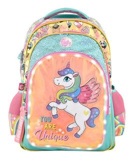 Mochila Footy Luz Led C/ Espalda 18 Unicornio/llama