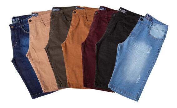 Kit 5 Bermudas Masculinas Sarja Jeans Brim Com Lycra