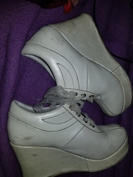 Hermosos Zapatos Con Plataforma De Piel
