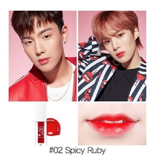 Monsta X Tonymoly Liptone Spicy Ruby Brillo Labial Kpop