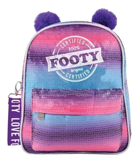 Mochila Footy Fashion Arcoiris Pompón Lentejuelas 12 Violeta