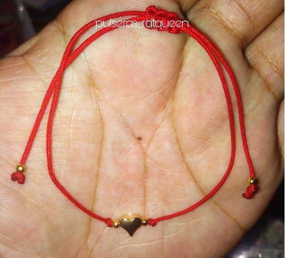 Pulsera De Corazón, Enchapado De Oro Ajustable Color Rojo