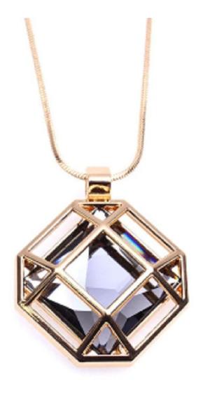 Maxi Colar Com Pedra Grande Quadrada Estilo Diamante