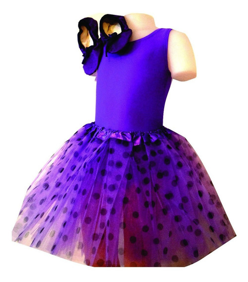 Malla Breteles O Musculosa Y Tutu Purpurina O Lunares O Pompones Ballet Danza Hasta Talle 12