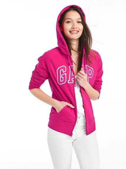 Sudadera Mujer Hoodie Abierta Logo Gorro Bolsillo Dama Gap