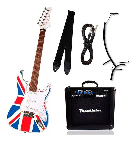 Kit Guitarra Stratocaster Eagle Sts001 Uk + Acessórios
