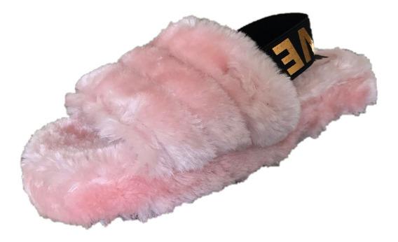 Sandalia Pantufla Casual Niña Peluche Mu 1000 Rosa 1821 Moda