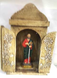 Santo São Paulo Apostolo Resina Com Oratorio Capela Madeira