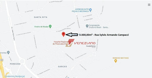 Terreno À Venda, 3000 M² Por R$ 630.000,00 - Santa Rita - Piracicaba/sp - Te0816