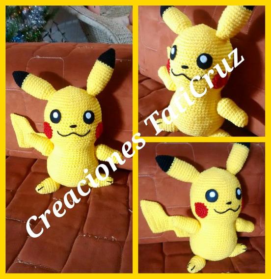Pikachu Pokemon 30cm Peluches Muñecos 100% Tejido A Mano
