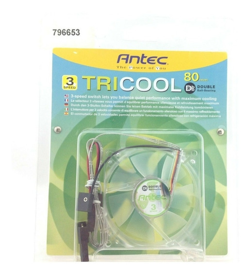 Ventilador Antec Tricool 80mm Red Led Cooling Fan With 3-spe