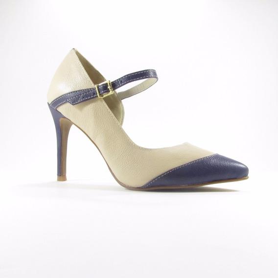 Sandália Scarpin Bege/azul