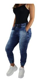 Kit 3 Calças Jeans Sarja Feminina Jogger Com Punho Elastico