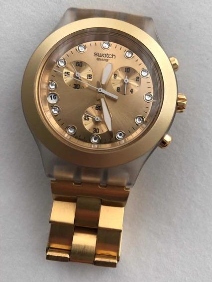 Relógio Swatch Gold Com Cristais