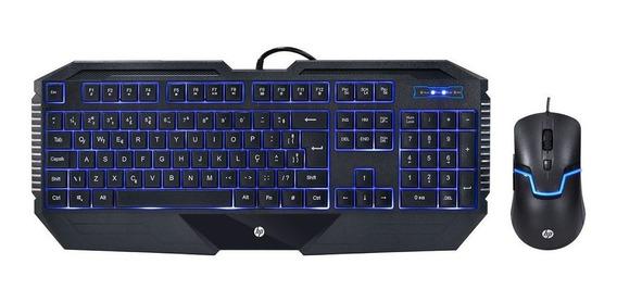 Kit Teclado + Mouse Hp Gk1100 1600dpi Led Azul Com Fio Usb
