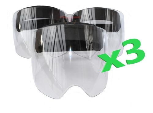 Careta Mascara Visor Protección Médica Antifluido Liviana X3