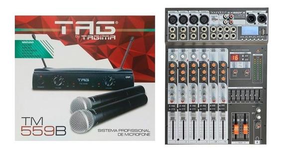 Kit Mesa De Som Soundcraft 8 Canais + Microfone Sem Fio Tag