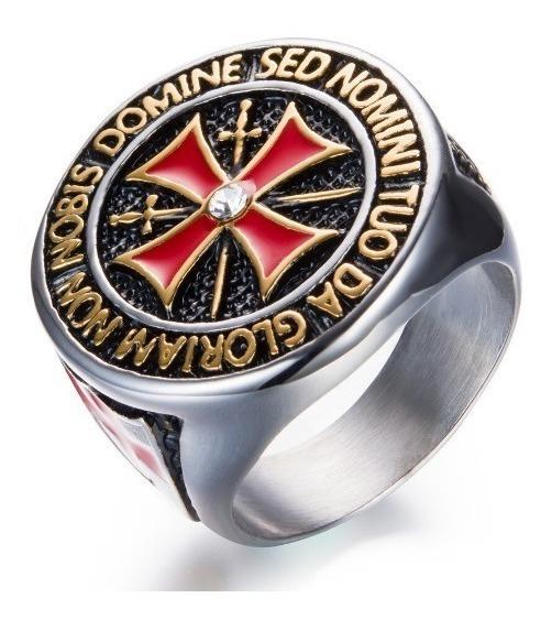 Anel Ordem Dos Cavaleiros Templários Cruz De Malta Maçon Aço
