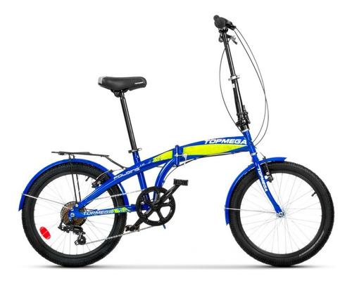 Imagen 1 de 4 de Bicicleta plegable TopMega   R20 7v frenos v-brakes cambio Shimano Tourney FT55 color azul