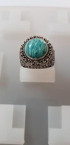 Magnífico Anel Prata 925 Turco Pedra Preciosa Natural Jade