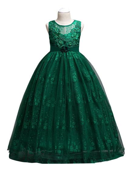 Vestido Niña Fiesta Largo/ceremonia/boda/verde
