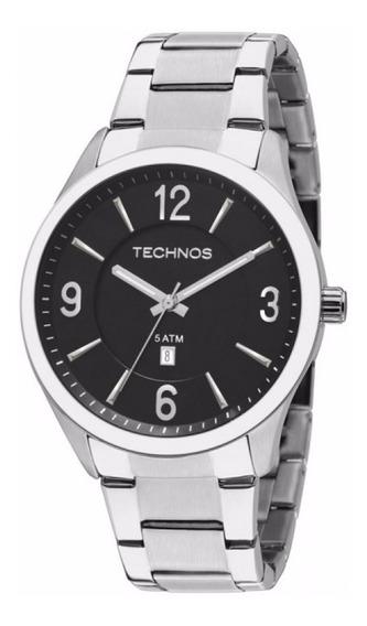 Relógio Technos Masculino Prata Fundo Preto Data 2015bzb/1p