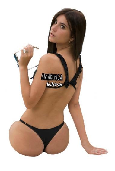 Bikini Amaringa Con Moño Y Less Regulable Verano Malla Mujer