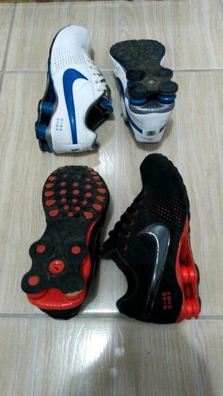 Nike Shox Preto E Vermelho /branco E Azul
