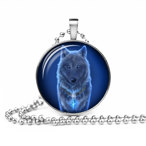 Colar Corrente Clolar Pingente Lobo Wolf Moon