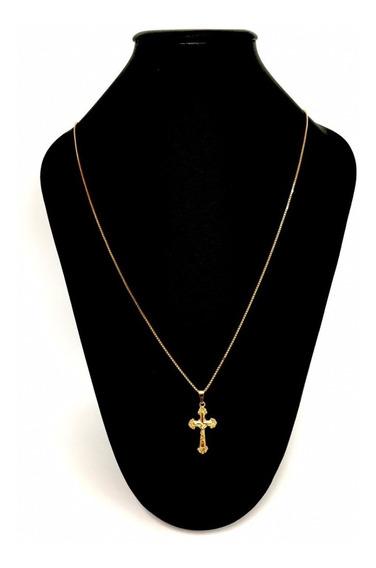 Corrente Cordão Veneziana 70 Cm C/ Crucifixo Banhado A Ouro