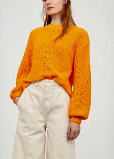 Sueter H&m Básico Naranja Neon Chenilla Mujer