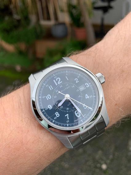Relógio Hamilton Khaki Field 42mm Azul Automático