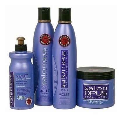 Salon Opus Kit Violet Desamarelador Sh+ Cond+ Máscara+ Pent