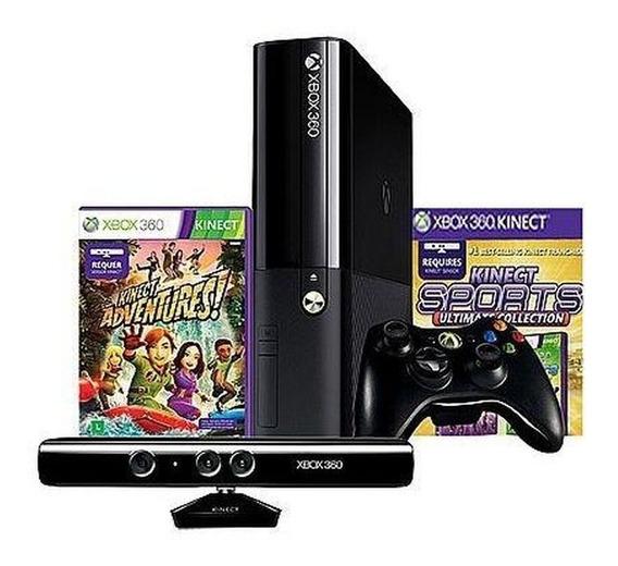 Xbox 360 Super Slim Desbloqueado + 20 Jogos E Kinect