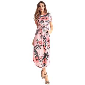 Verano Mujeres Verano Vestido Midi Impresión Floral O Cuell