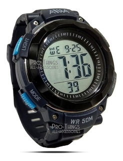 Reloj Deportivo Sumergible Hombre Alarma Cronometro Luz Aiwa