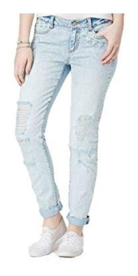 Jeans Skinny Pantalón Con Rotos Encaje Moda Vintage Mujer