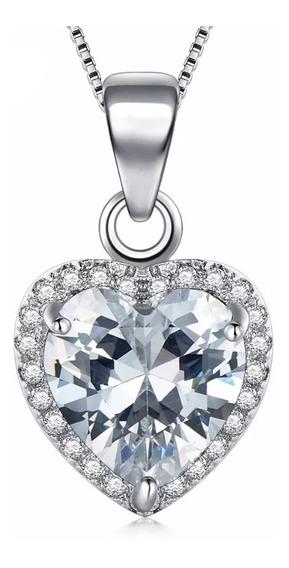 Fino Collar Corazón 100% Plata 925 Diamante Ruso Cz 2ct