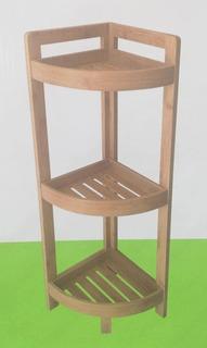 Organizador Esquinero Estantes Cocina Baño Bamboo Madera