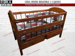 Cuna Hindu 0.60x1,20 Rebatible Con 2 Cajones Barinzado